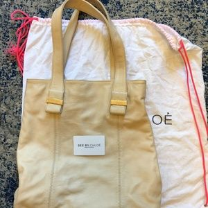 See by Chloe full grain leather tote in Cream